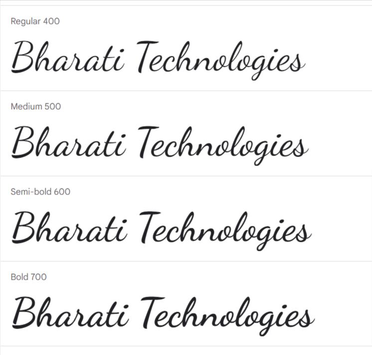 Dancing Script Google Fonts | Bharati Technologies