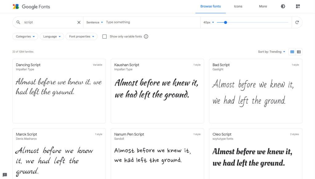 google fonts screenshot | Bharati Technologies
